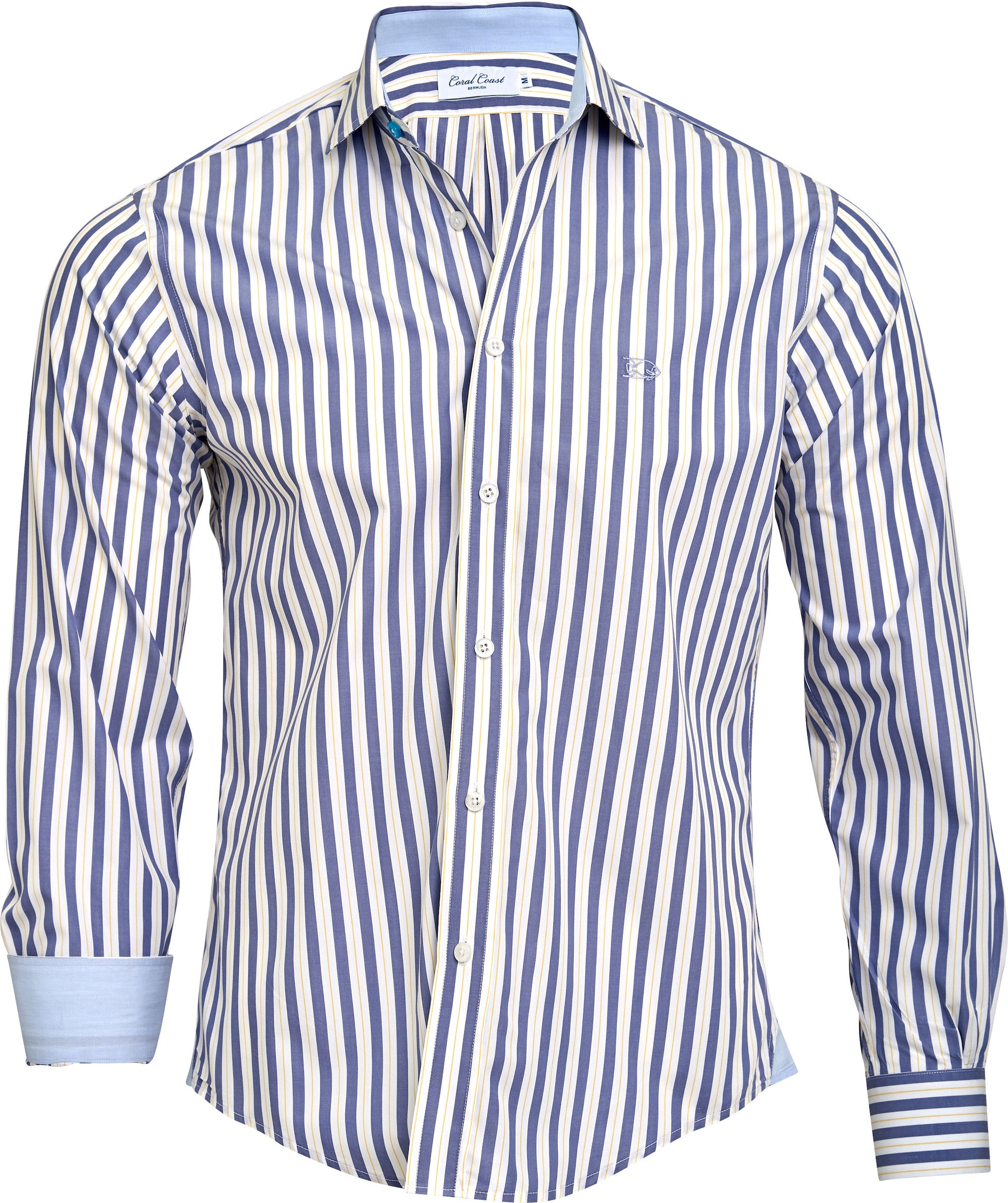 Navy n' Yellow Stripe Dress Shirt