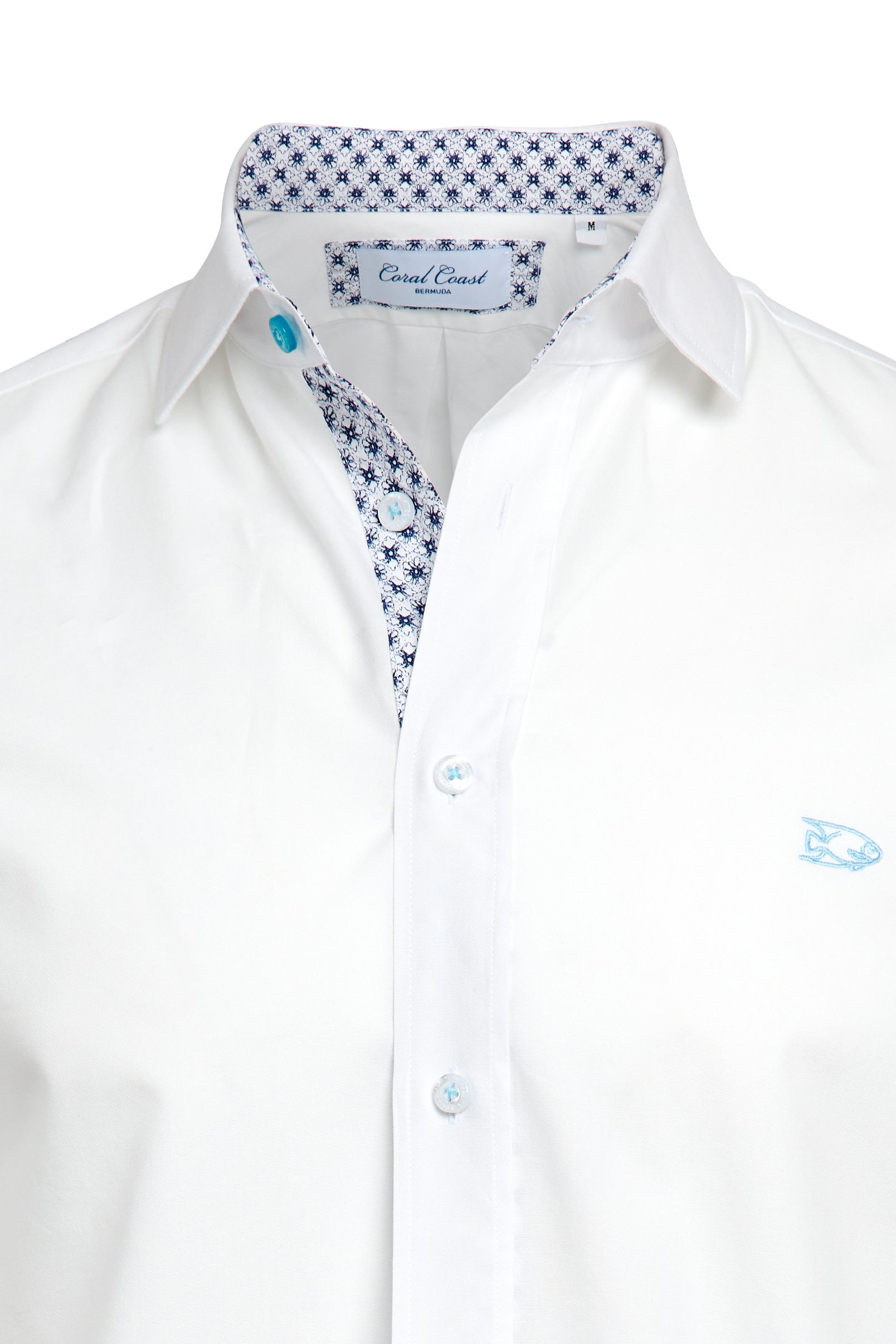White Blue Geo Floral Dress Shirt