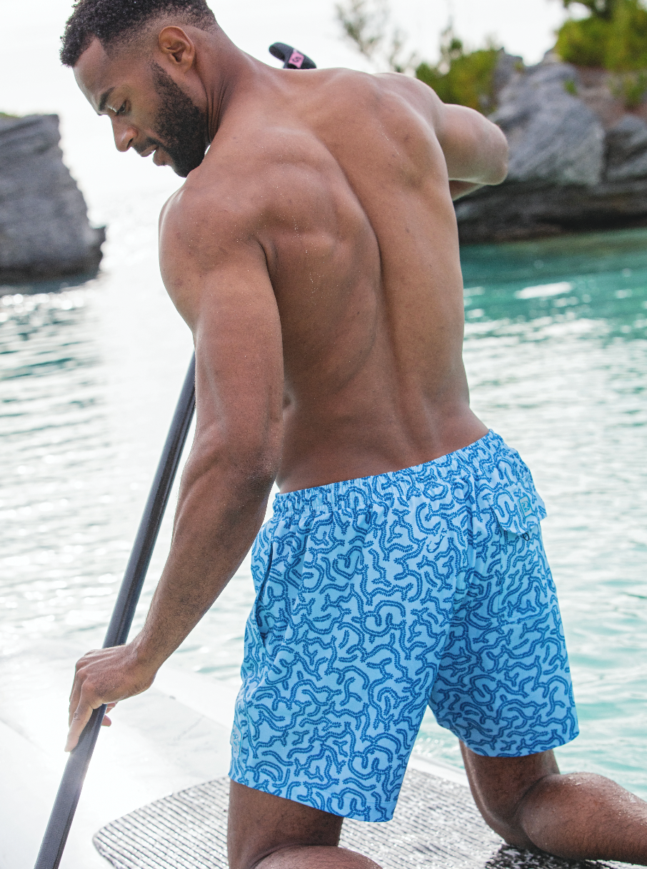 BRAIN CORAL BLUE SWIM TRUNK