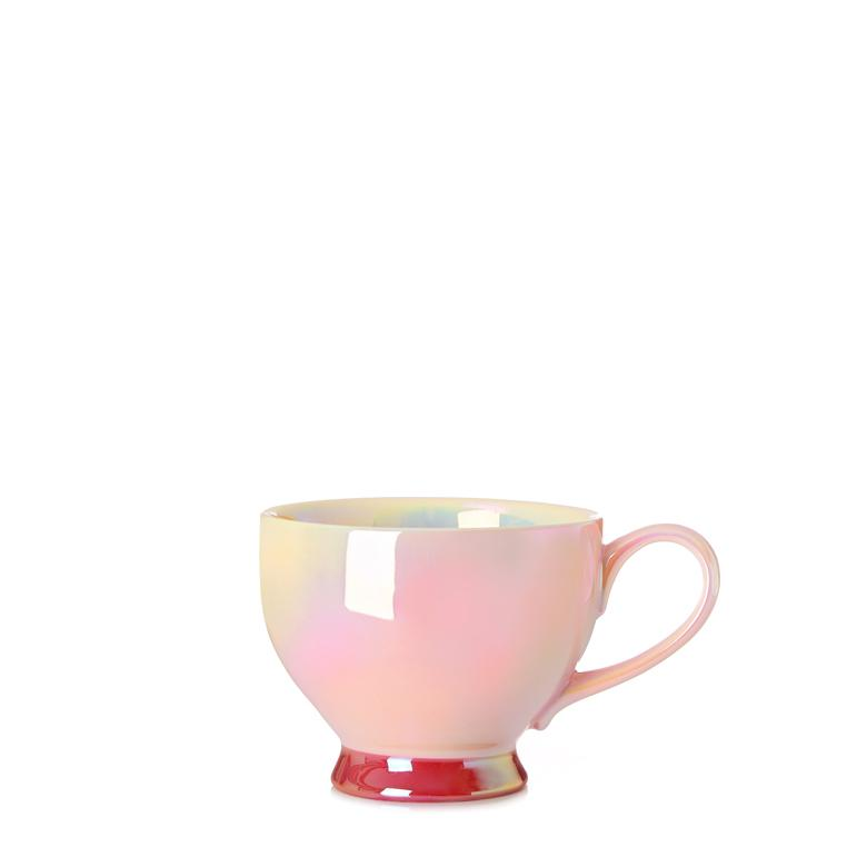 Pink opalescent bloom tea cup with Sparkling Roses