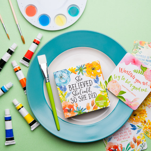 Product photography flat lay with artist's watercolor paints