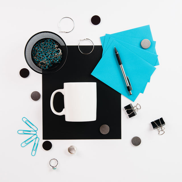 Small business stock photo flat lay of white mug mockup with office desk supplies