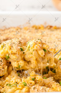 Baked 3 Cheese Mac & Cheese with Peas - EXCLUSIVE