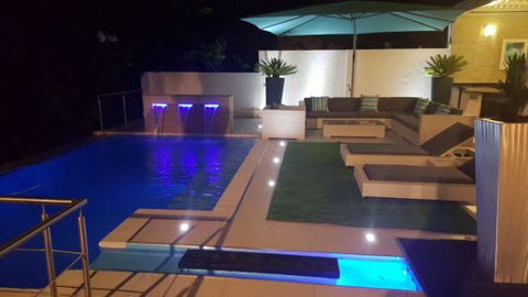 A swimming pool to enjoy at night