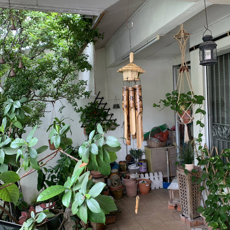 Handmade Bamboo Angklung wind chime with small bird house