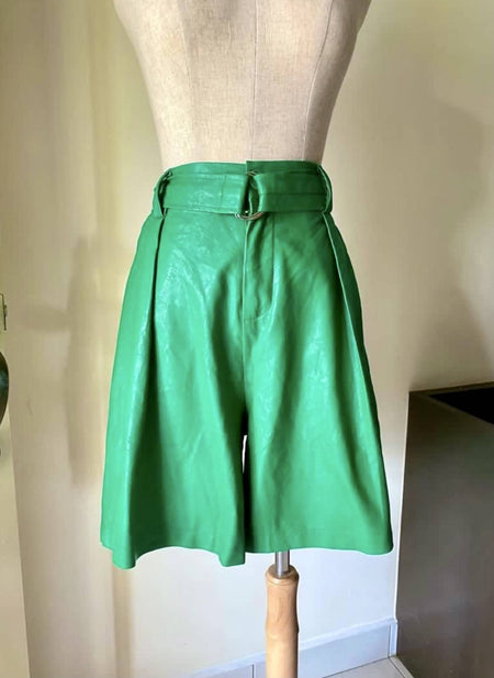 Green Faux Leather Shorts