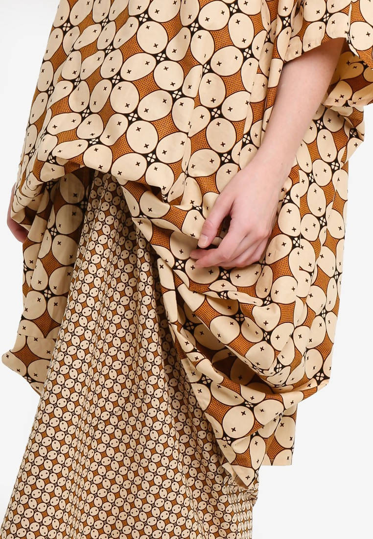 GAMELAN BUBBLE TOP with PAREO SKIRT SET - SHADES OF BROWN