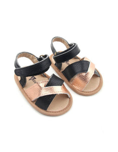 Bebebundo Baby Leather Shoes - Black & Gold Crosstype Sandals Collection