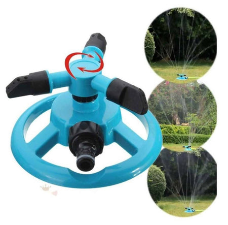 360° Fully Circle Rotating Watering Sprinkler Irrigation System 3 Nozzle Pipe Hose for Garden