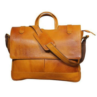 Leather messenger bag (classic) - Brown