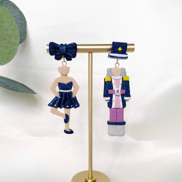 The Nutcracker With Ballerina Glitter Blue Earrings