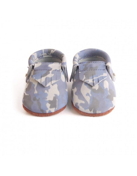 Bebebundo Baby Leather Shoes - Blue Camo Moccasins