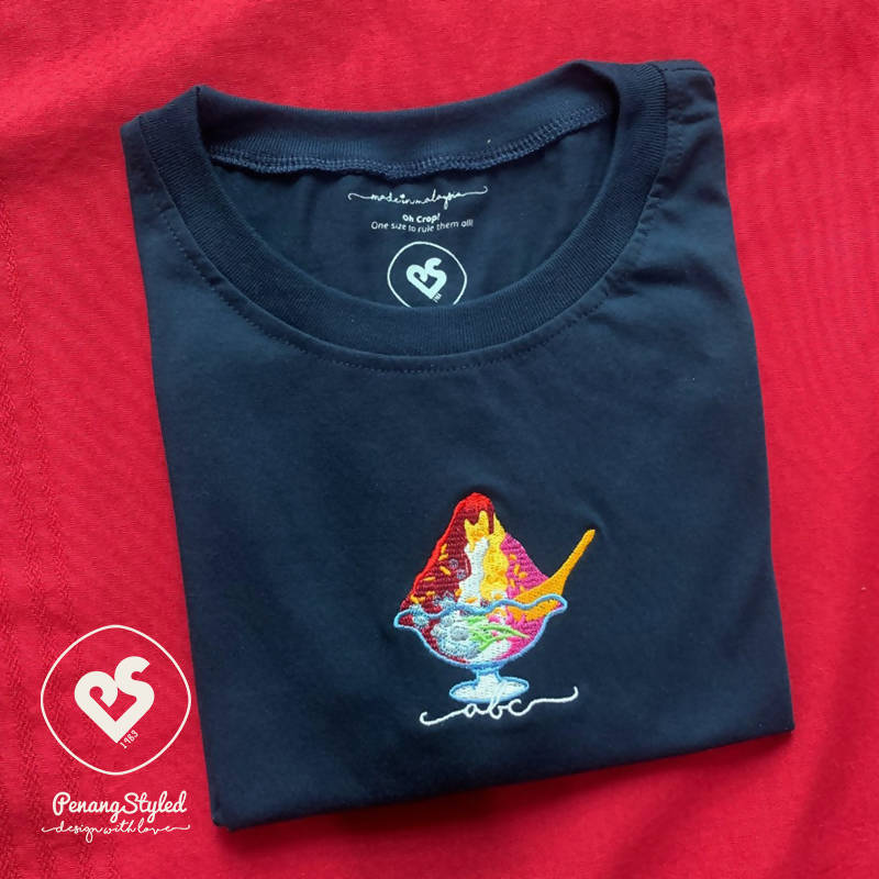 Penang Styled ABC Embroidery Round Neck Short Sleeve Cotton Navy Blue Tee