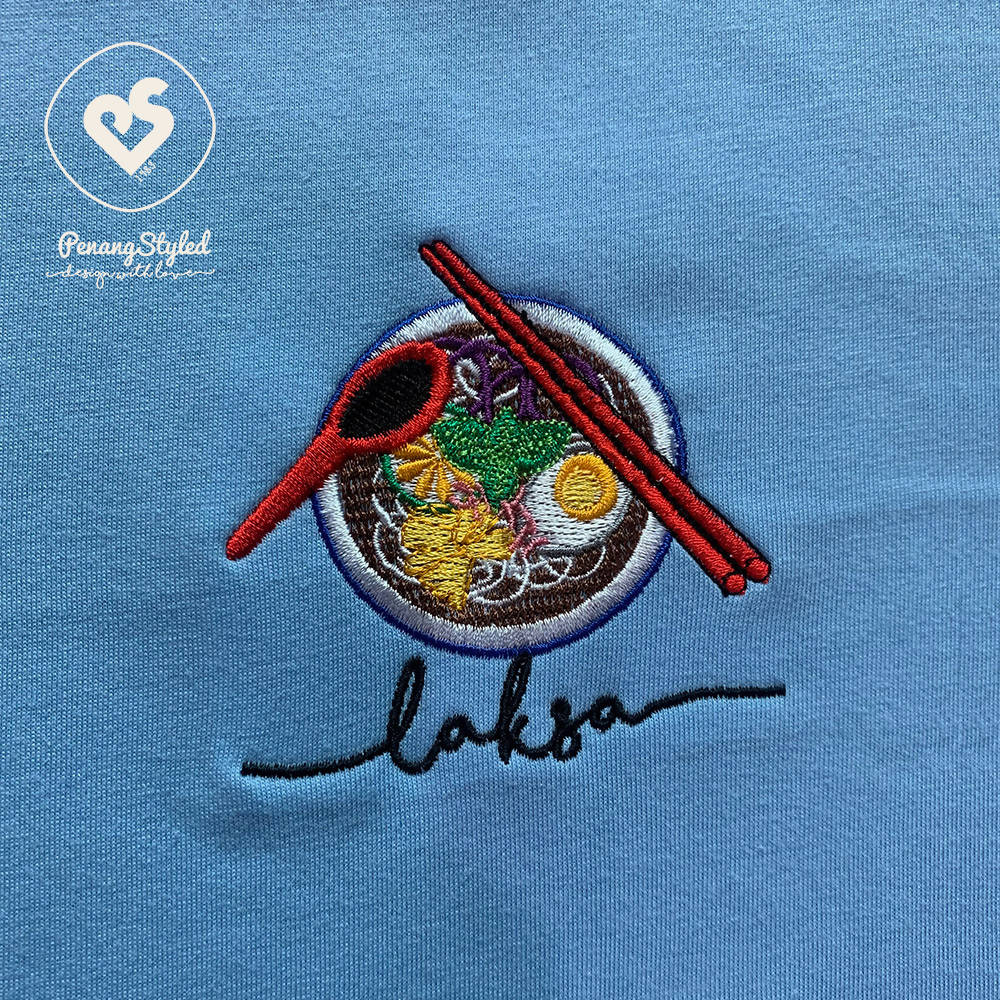 Penang Styled Laksa Embroidery Round Neck Short Sleeve Cotton Light Sky Blue Tee
