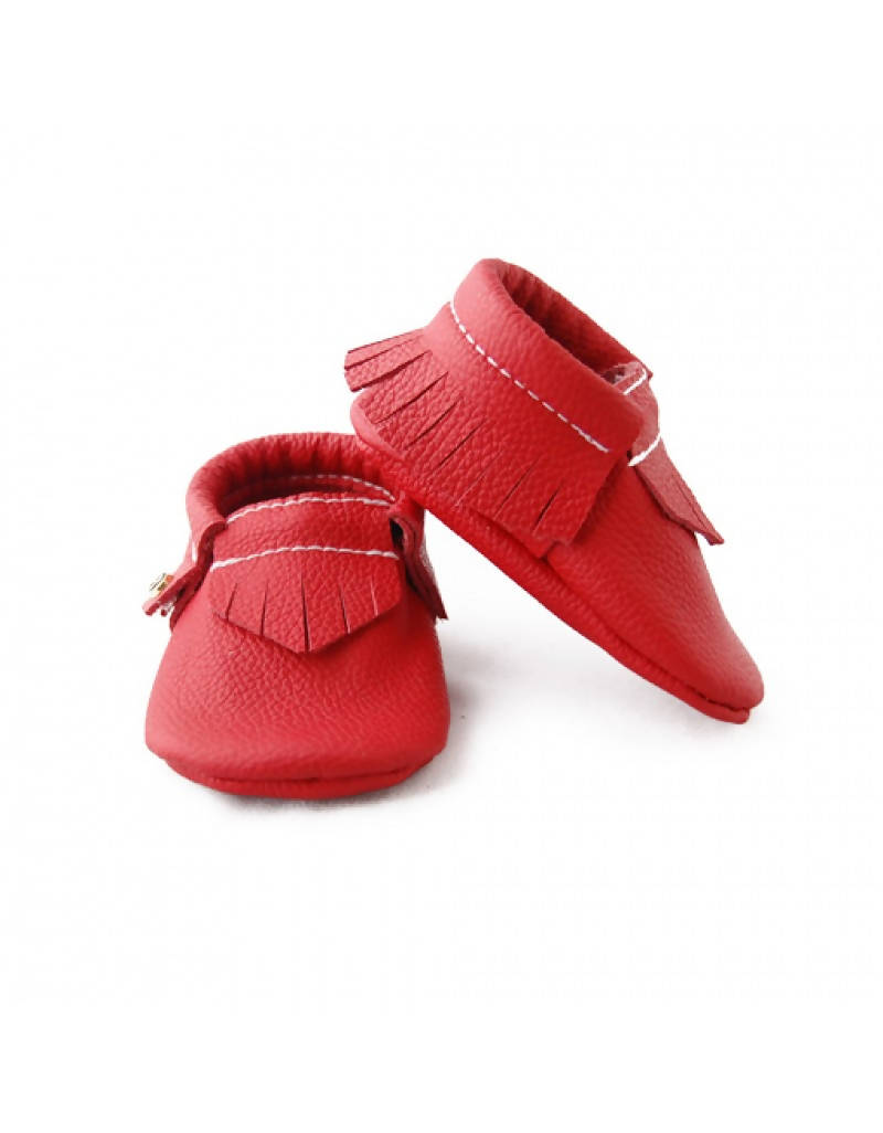Bebebundo Baby Leather Shoes - Crimson Moccasins