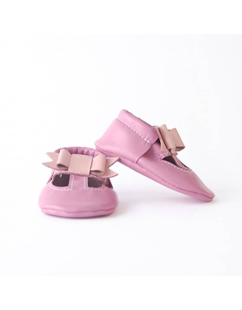 Bebebundo Baby Leather Shoes - Peach Bow - Pink Collection