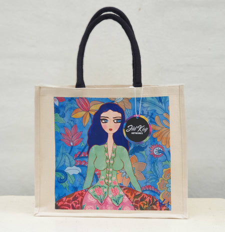 'LADY IN GREEN KEBAYA' CANVAS JUTE BAG