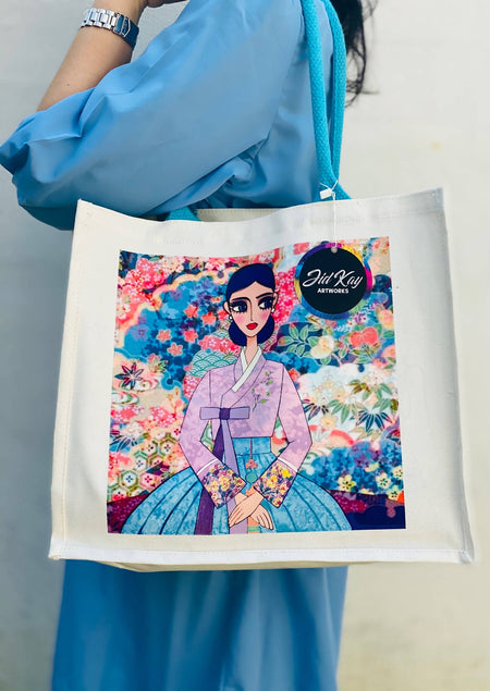 'LADY IN HANBOK' CANVAS JUTE BAG