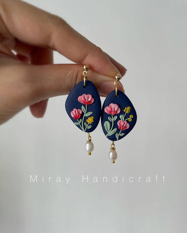 Handmade Polymer Clay Oriental Floral Earrings