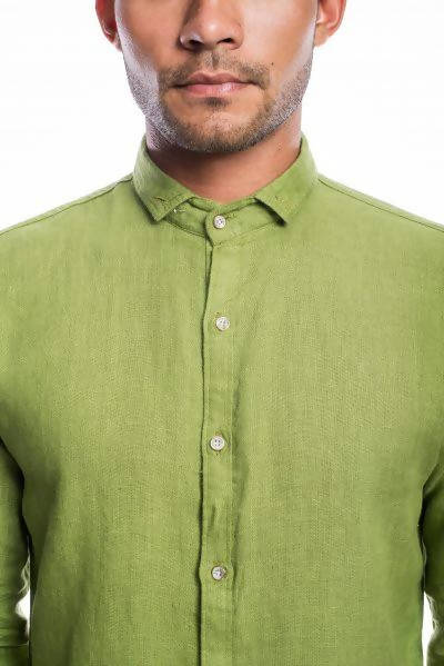 Green Linen Full Sleeves Shirt