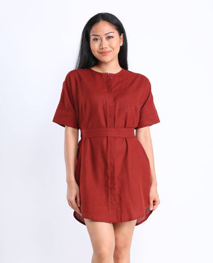 Lula Shirtdress in Brick Red