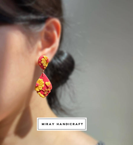 Handmade Polymer Clay Marigold Earrings v2