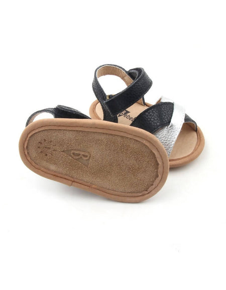 Bebebundo Baby Leather Shoes - Black & SilverCrosstype Sandals Collection