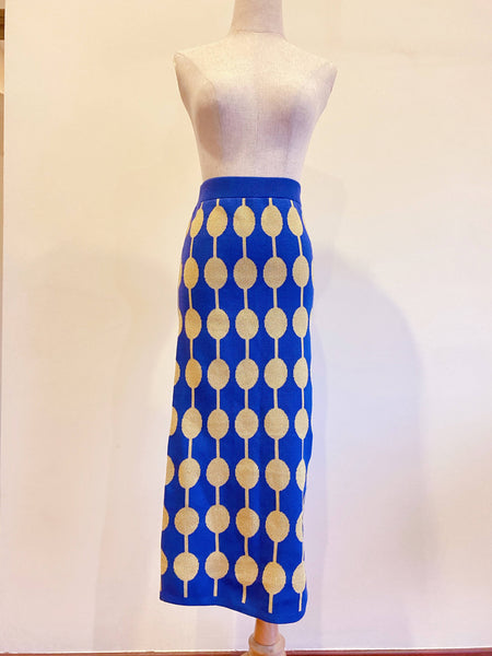 Blue & Gold Knit Skirt