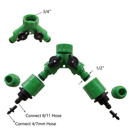 2 Way Connector Adaptor with Garden Irrigation, 2 Way Splitter Connector Water Hose Quick Adaptor Garden