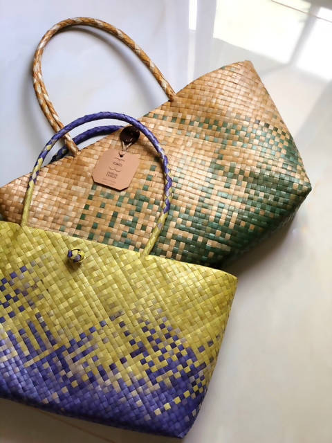 Hand Woven Mengkuang Tote Bag - Ikat Technique Yellow & Purple