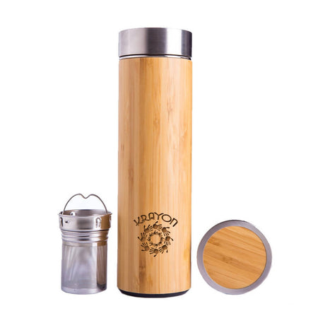 Natural Bamboo Vacuum Thermo Flask Tumbler 500ml Triple-Layer Stainless Steel 304 Liner