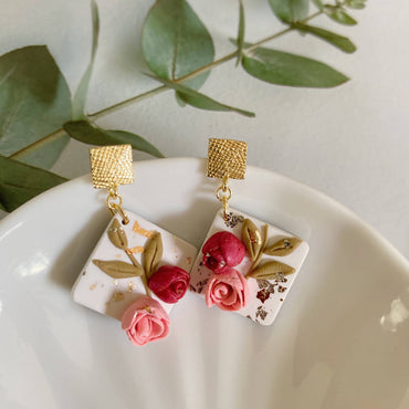 Pink Roses Rhombus Dangle 1