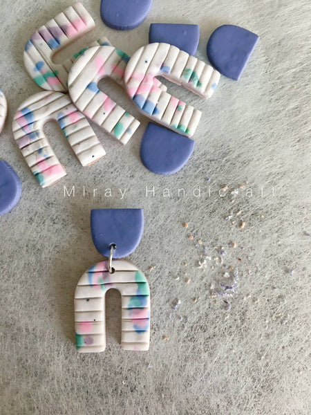 Handmade Polymer Clay Periwrinkle Terrazzo Earrings