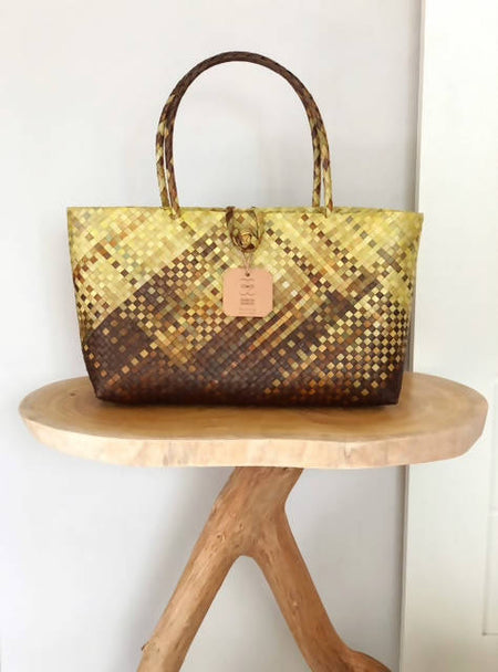 Hand Woven Mengkuang Tote Bag - Ikat Technique Yellow & Brown