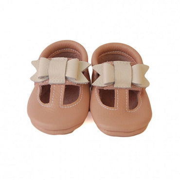 Baby Leather Shoes - White Bow