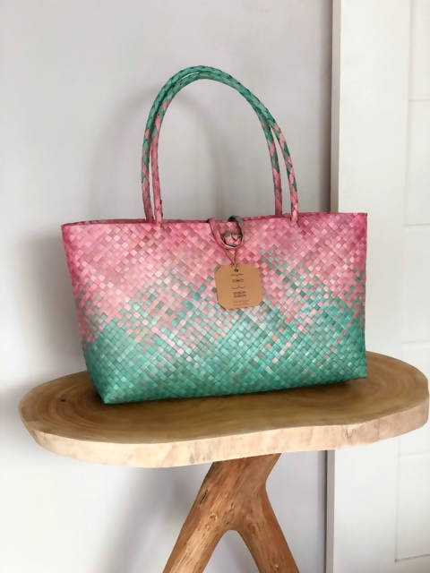 Hand Woven Mengkuang Tote Bag - Ikat Technique Pink & Green