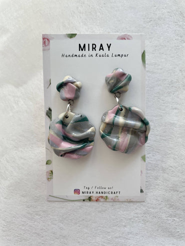 Handmade Polymer Clay Midnight Berry Flowy Earrings