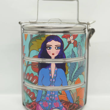 Lady In Blue Kebaya Tiffin Carrier - Stainless Steel 14x3, Mangkuk Tingkat