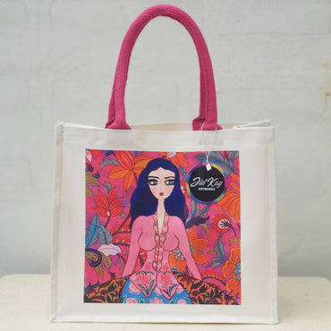 'LADY IN PINK KEBAYA' CANVAS JUTE BAG
