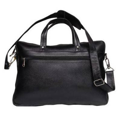 Leather messenger bag (classic) - Black