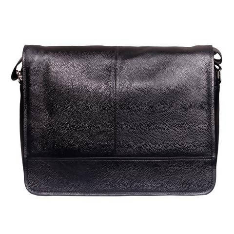 Leather messenger bag (flap) - Black
