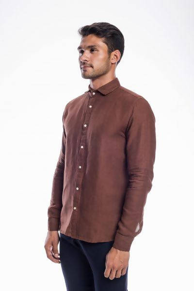 Brown Linen Full Sleeves Shirt