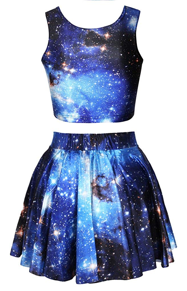 Galaxy Print Dress Set Crop Top and Pleated Skirt