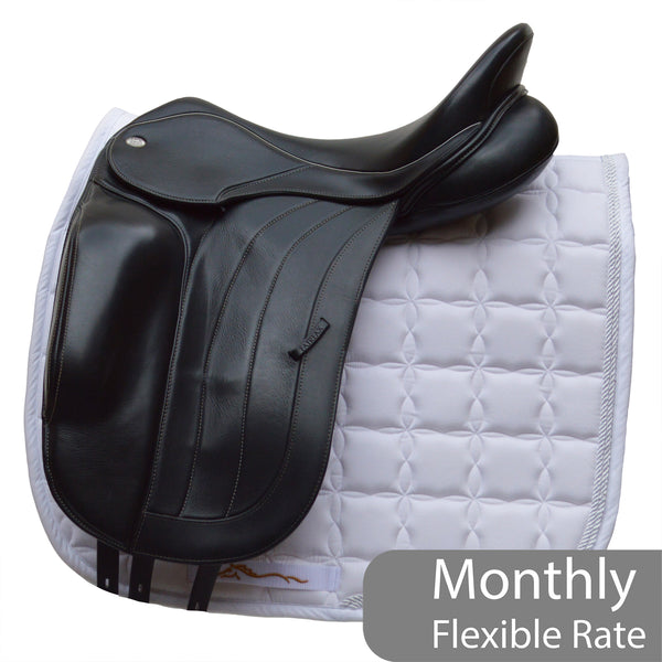 "Fairfax Spencer 17.5"" Adjustable Gullet Monoflap Dressage Saddle, Black (SKU196)"