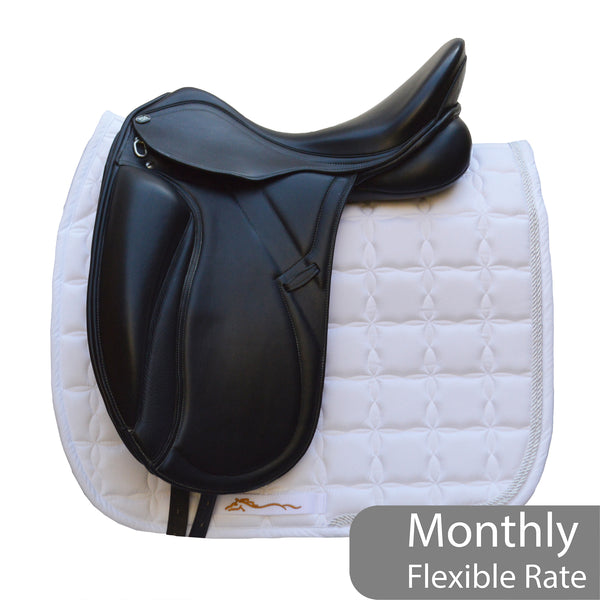 "PDS Grande 17.5"" Adjustable Gullet Monoflap Dressage Saddle - Black (SKU134)"