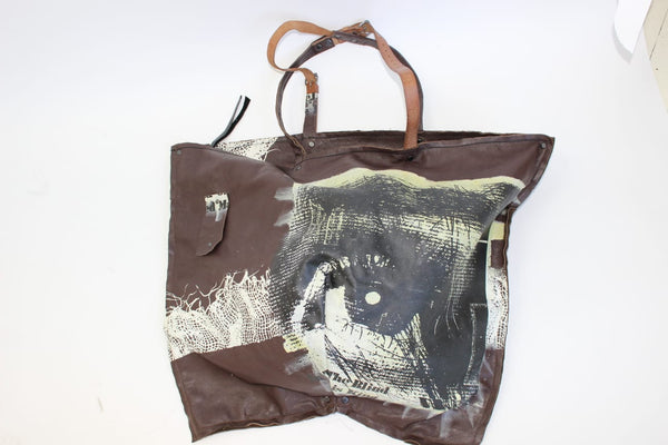 Sale.... eyes on you large leather  unisex Zippered Tote