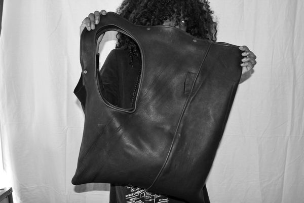 Statement Asymmetrical Leather Shoulder Bag.