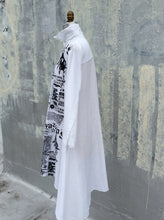 Oversize black and white Asymmetrical newsprint Shirt dress