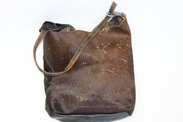 Brown cowhide shoulder  bag/ cross body bag/ bucket bag/ unisex leather bag/