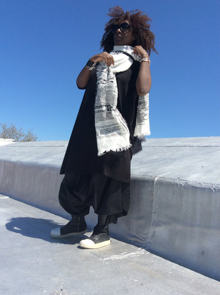Black and white large  hand dye cotton summer scarf